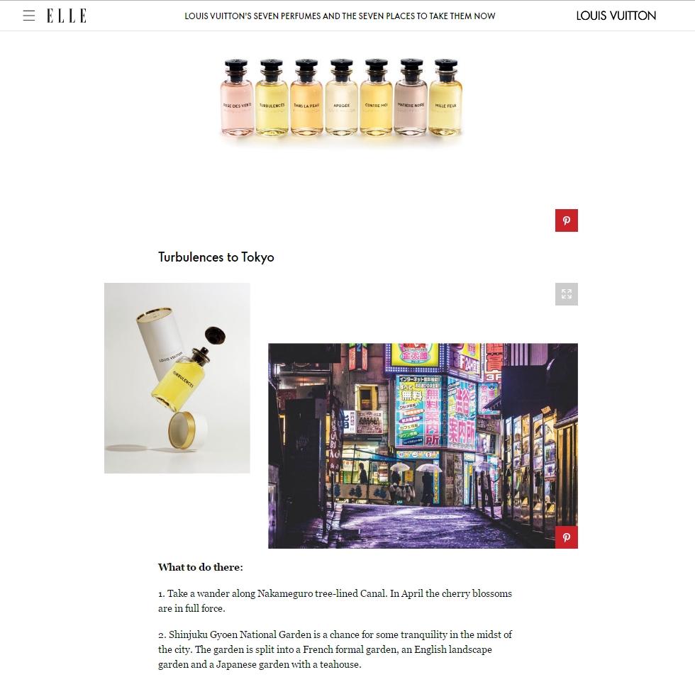 ELLE UKのLOUIS VUITTON フレグランス「レ・パルファン ルイ・ヴィトン」紹介ページにて写真をご使用頂きました!