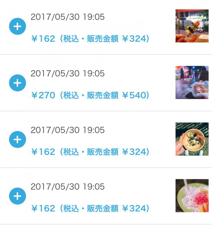 スナップマートで食べ物飲み物などの写真が一気に7枚売れた!(売上:1539円) Snapmart販売履歴