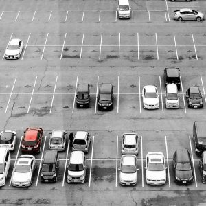 High Angle View Of Vehicles In Parking Lot