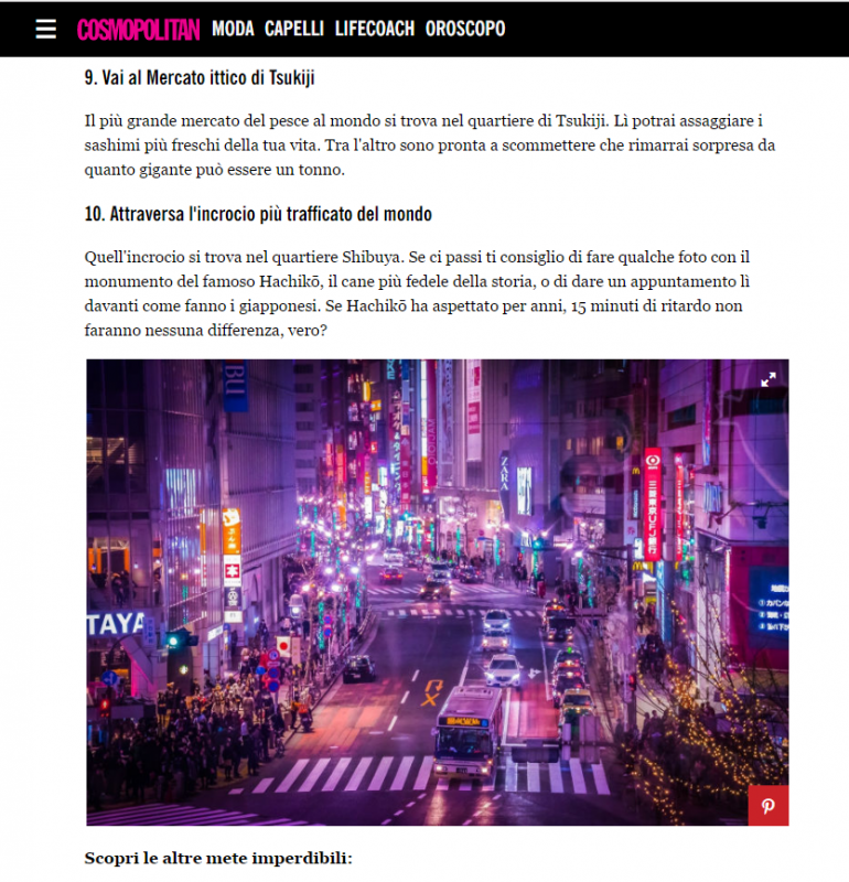 "My sold photograph from Getty images that was used for ""10 cose da fare assolutamente a Tokyo"" on COSMOPOLITAN!"