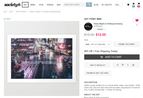 """I just created goods as """"Rainy Night at Shibuyacrossing"""" on Society6!Check this out if you want."""