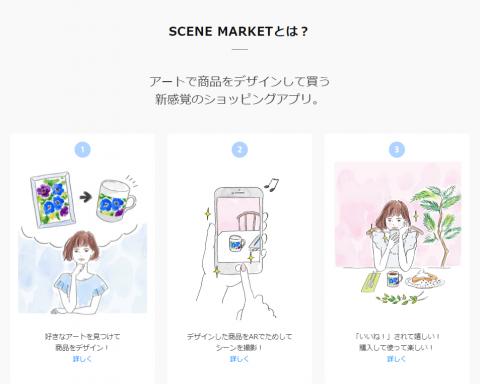 アートで商品をデザインして買う新感覚のショッピングアプリ。SCENE MARKET