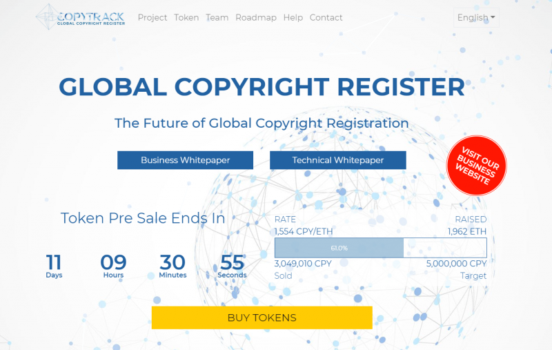 COPYTRACK started Token sale from Dec.10th 2017 – Feb.10th 2018