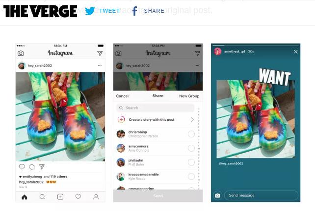 インスタグラム新機能:他者の投稿写真をストーリーズにシェア可能に!リサイズ、背景画像、アレンジ可能。投稿者名とリンク設置。InstagramアプリSNS最新情報