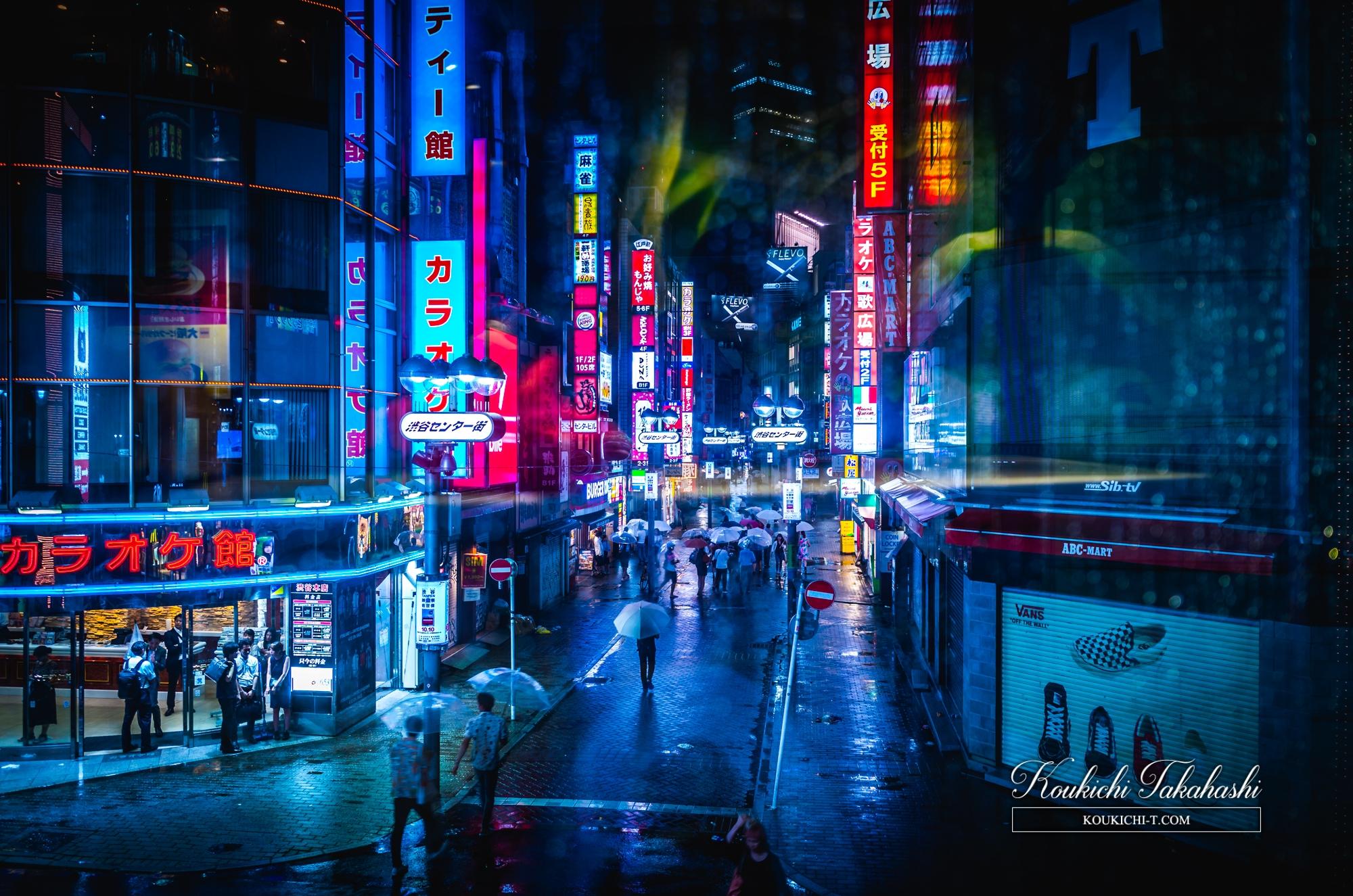 Adobe Lightroom 写真現像レタッチサンプル Before After ガラス越しの雨の渋谷センター街 tokyo freelance photographer
