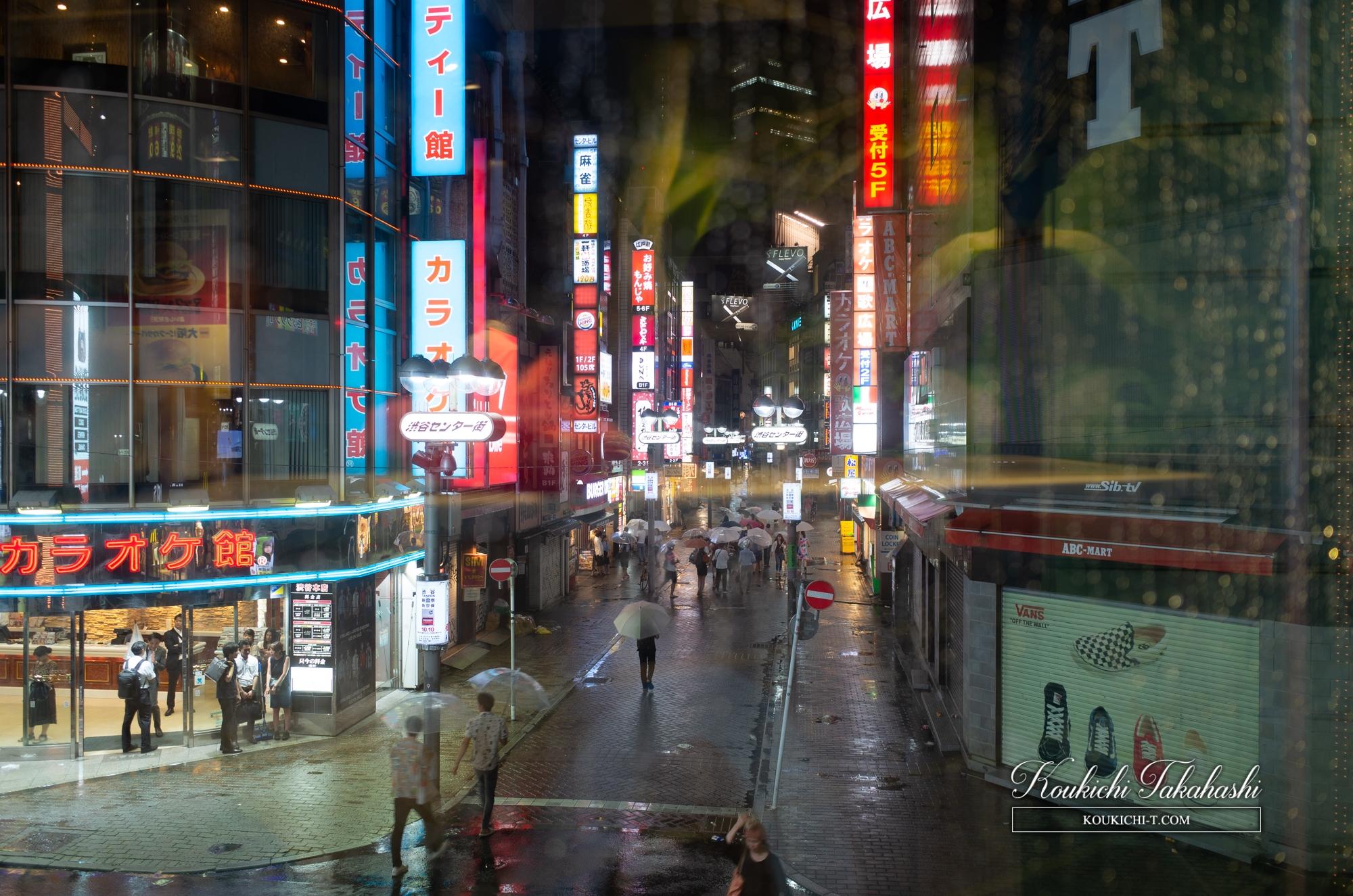 Adobe Lightroom 写真現像レタッチ講座サンプル Before After 雨の渋谷センター街 RAW