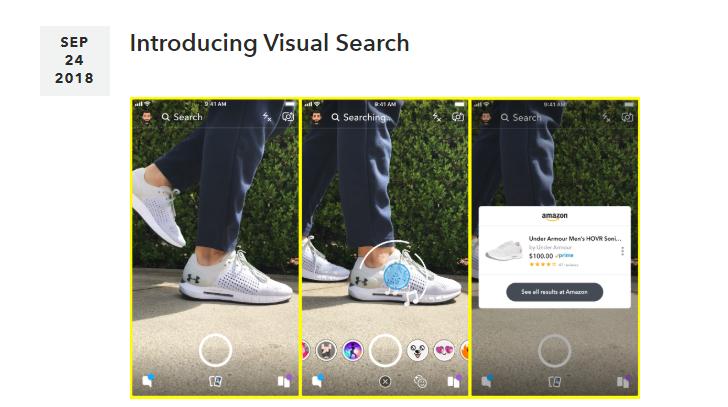 スナップチャットがビジュアル検索機能を開発中!カメラで対象物やバーコードを読み取りAmazonの商品検索結果へ。Snapchat新機能/最新情報2018