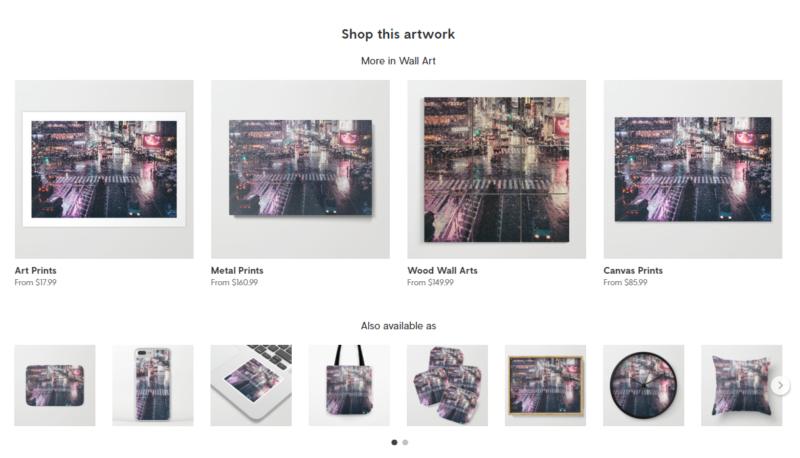 フォトグラファー、イラストレーター、クリエーターの収益化に。写真やイラストでグッズを作って海外に販売できるアプリ、サイト Society6 (2)