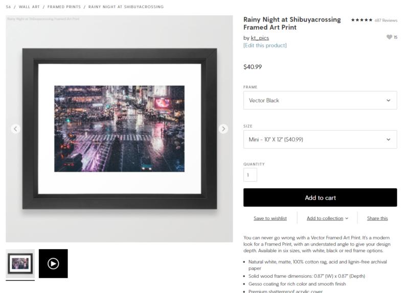 定番のアートプリント。写真だとプリント系とかステッカーなんかの売れる率が高い。