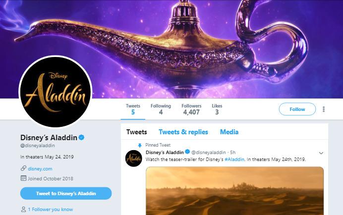 実写版アラジン映像初公開!Twitter海外公式アカウントも登場!@ disneyaladdin Twitter新公式アカウント最新情報2018