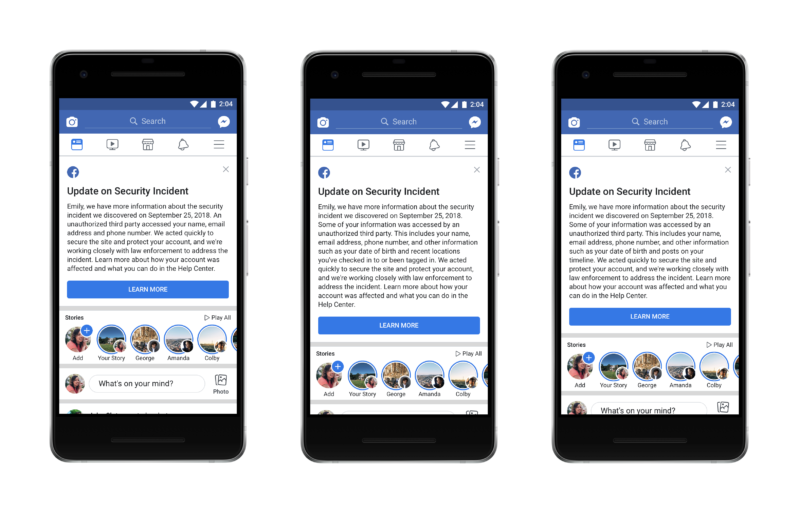 Facebook個人情報漏洩の影響確認画面