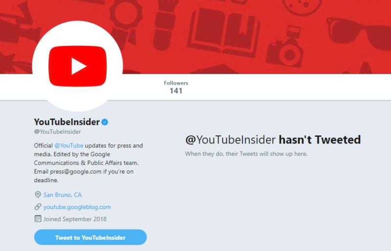 YouTubeがTwitter新アカウント YouTubeInsiderを作成!YoutubeTwitter最新情報2018