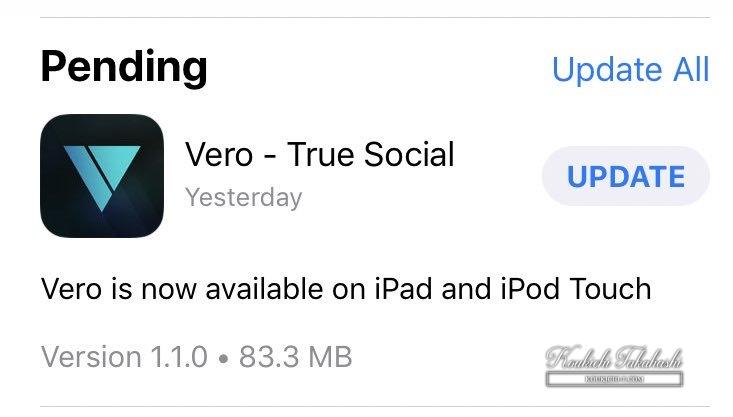 Vero is now available on iPad/iPod Touch.Vero/social media/app latest news 2018