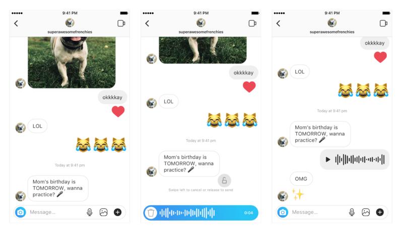 インスタグラムDMに「ボイスメッセージ」機能、本日公開!最長1分の音声メッセージを送信可能に。Instagram新機能/アップデート最新情報2018