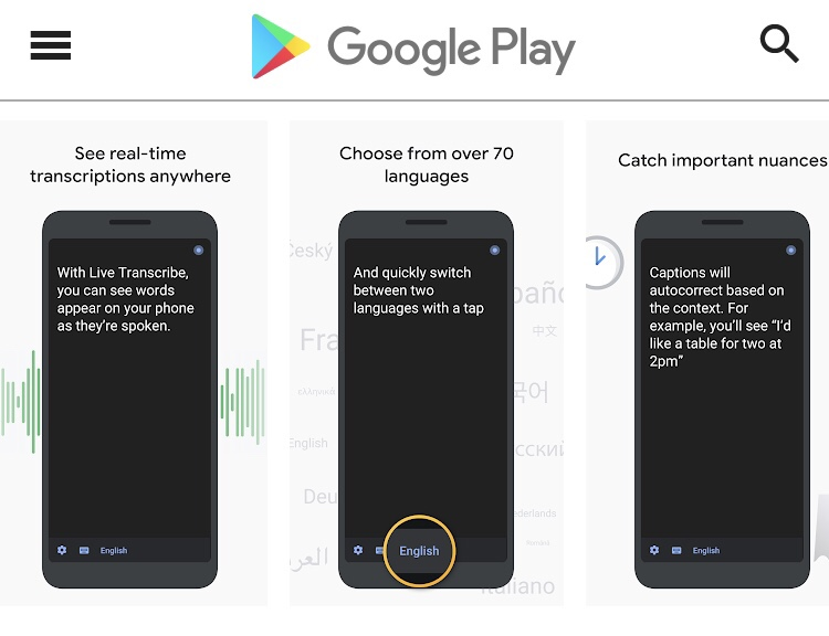 Google聴覚障害者向け「Live Transcribe」と「Sound Amplifier」Androidアプリリリース。相手の話をディスプレイに表示、会話を聞き取りやすくする。グーグル新アプリ/最新情報2019