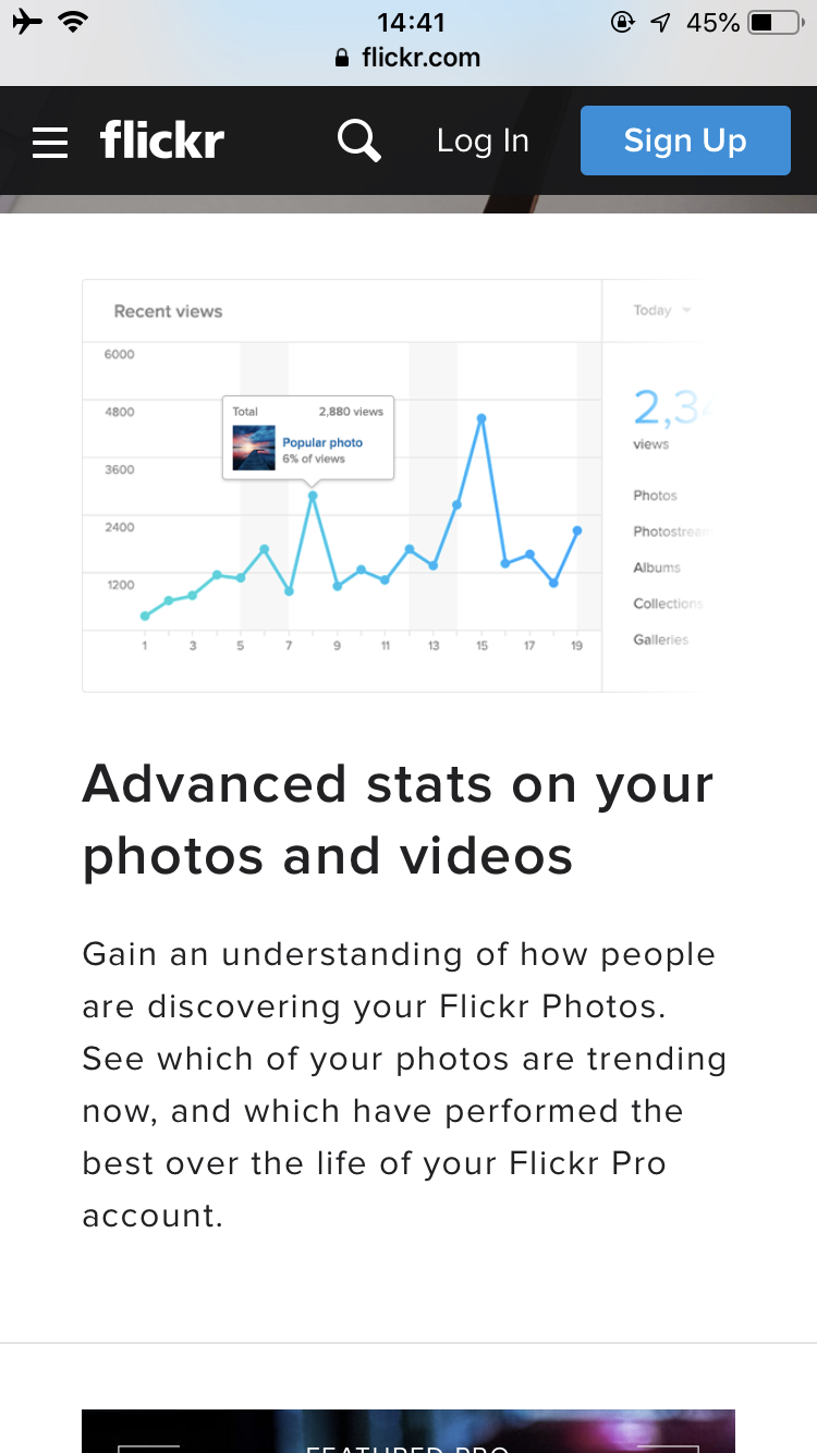 Flickr Pro有料版の機能。閲覧数などアナリティクス的なので詳細データ確認可能