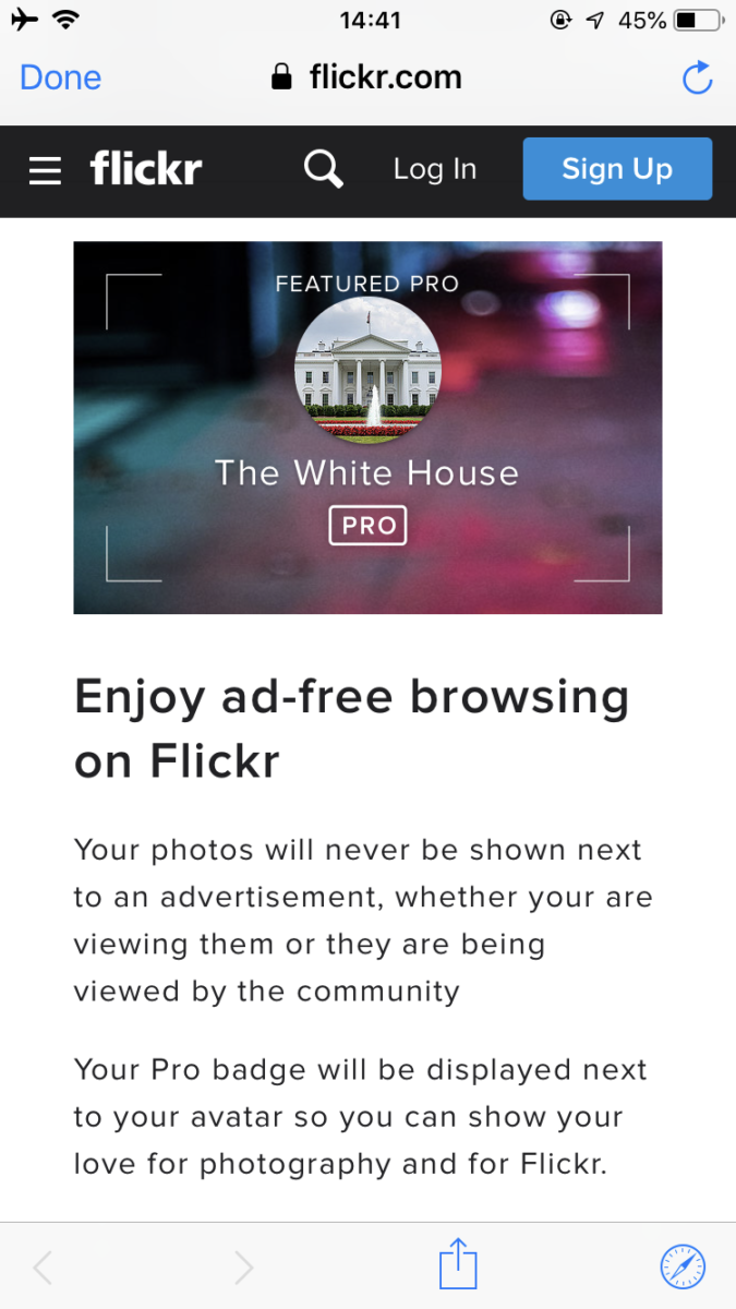 Flickr Pro有料版の機能。広告非表示