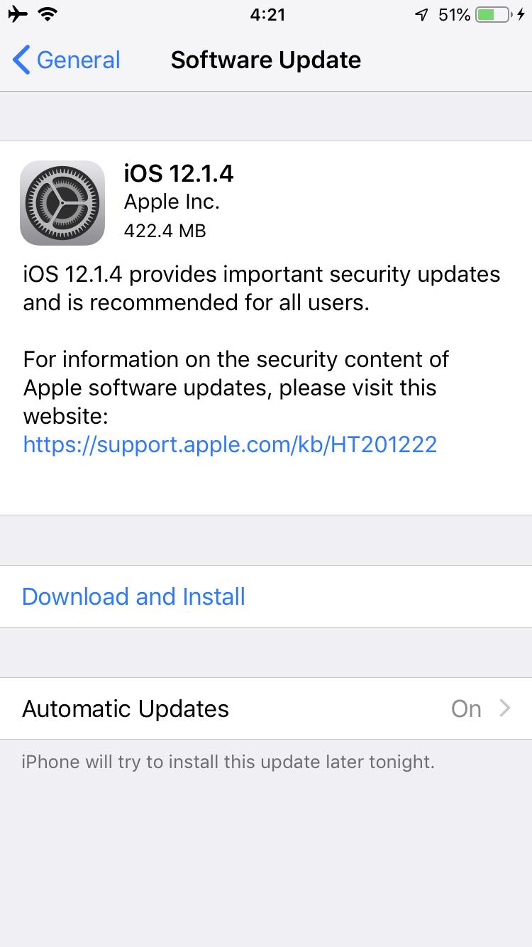 #速報 FaceTime盗聴盗視バグ修正アップデート12.1.4配布開始!アップル/iPhobe/iOS最新ニュース速報2019