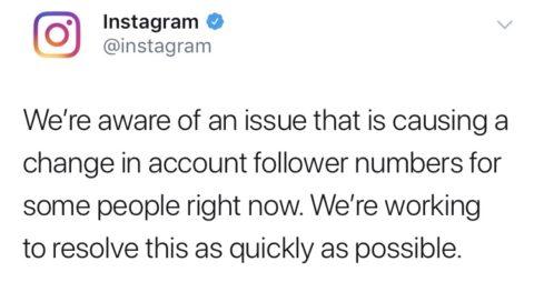 インスタグラムにフォロワー激減の不具合発生中!?公式が現在対応中とアナウンス。Instagram障害情報2019