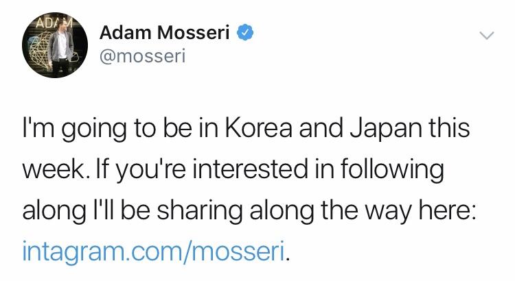 インスタグラム代表のアダム・モッセーリ氏、今週来日予定!Instagram最新情報2019