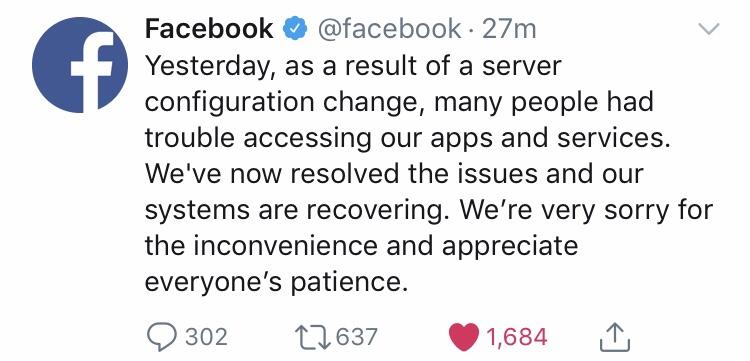 インスタ、フェイスブック大規模障害はサーバー構成変更が原因。3月14日の不具合についてTwitterで謝罪コメント。Instagram/Facebook最新ニュース速報2019