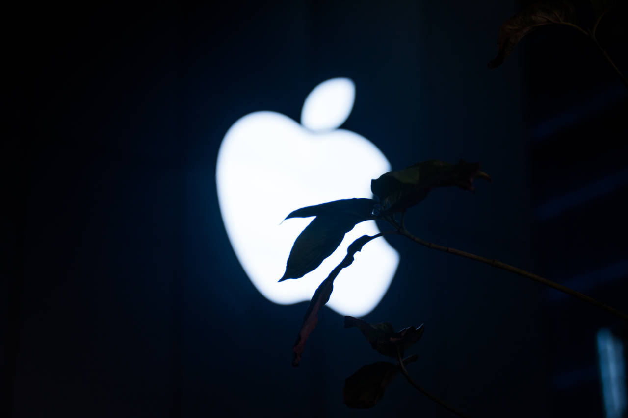 Apple logo glowing against black background and silhouette of leaves k- stockphoto editorial EyeEm
