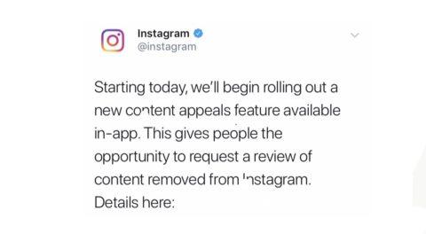 インスタグラム、違反報告により削除されたコンテンツへの異議申請機能を本日から公開!Instagram新機能/アップデート最新情報2019