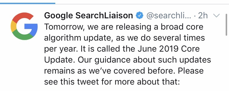Googleコアアルゴリズムアップデートを明日実施!「June 2019 Core Update」グーグル検索/SEO対策最新情報2019年6月