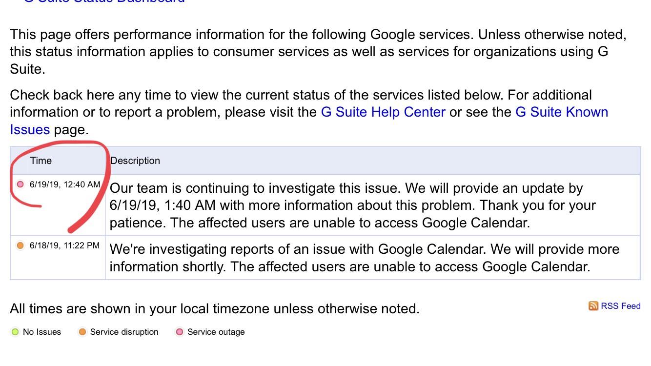 グーグルカレンダーに障害発生中!404表示、接続できない、ダウン中、おかしい、不具合などツイート急増。Google最新情報2019年6月18日-19日