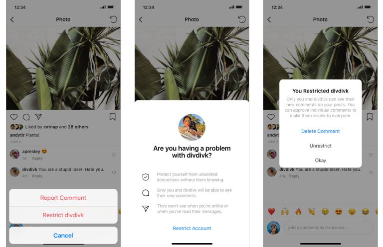 インスタグラムいじめ対策強化!攻撃的なユーザーをシャドウバンする「Restrict/制限する」+誹謗中傷者のコメント内容をAI判定「確認メッセージ」と「アンドゥ機能」テスト開始。Instagram新機能/アップデート最新情報2019年7月