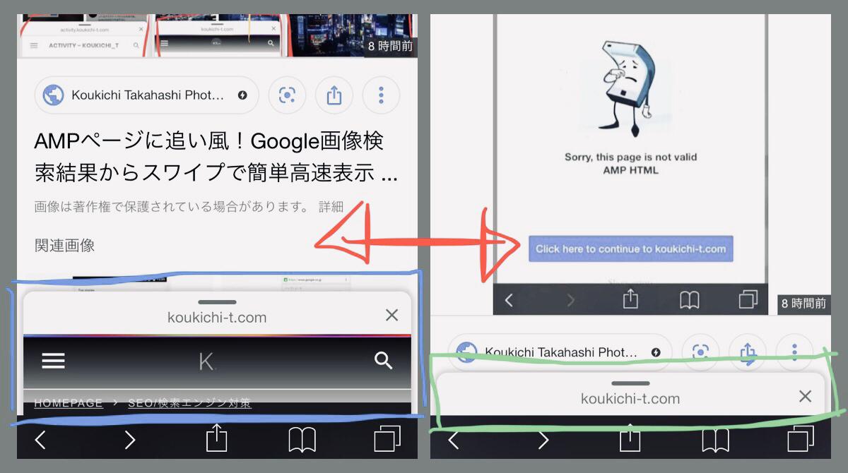 グーグルAMP新機能 Swipe to Visit「サイトヘッダーチラ見え」と「ドメイン表記のみ」の違いと原因とは?ブラウザ対応状況一覧表。仕様考察。画像検索結果からAMPページをスワイプで素早く表示可能に。Googleアップデートモバイル検索対策/SEO最新情報 2019年7月
