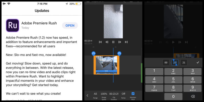 Premiere Rushにスピード調整機能!スマホで動画をスロー、スピードアップ編集可能に!Adobe Premiere Rush新機能/アップデート最新情報 2019年8月6日