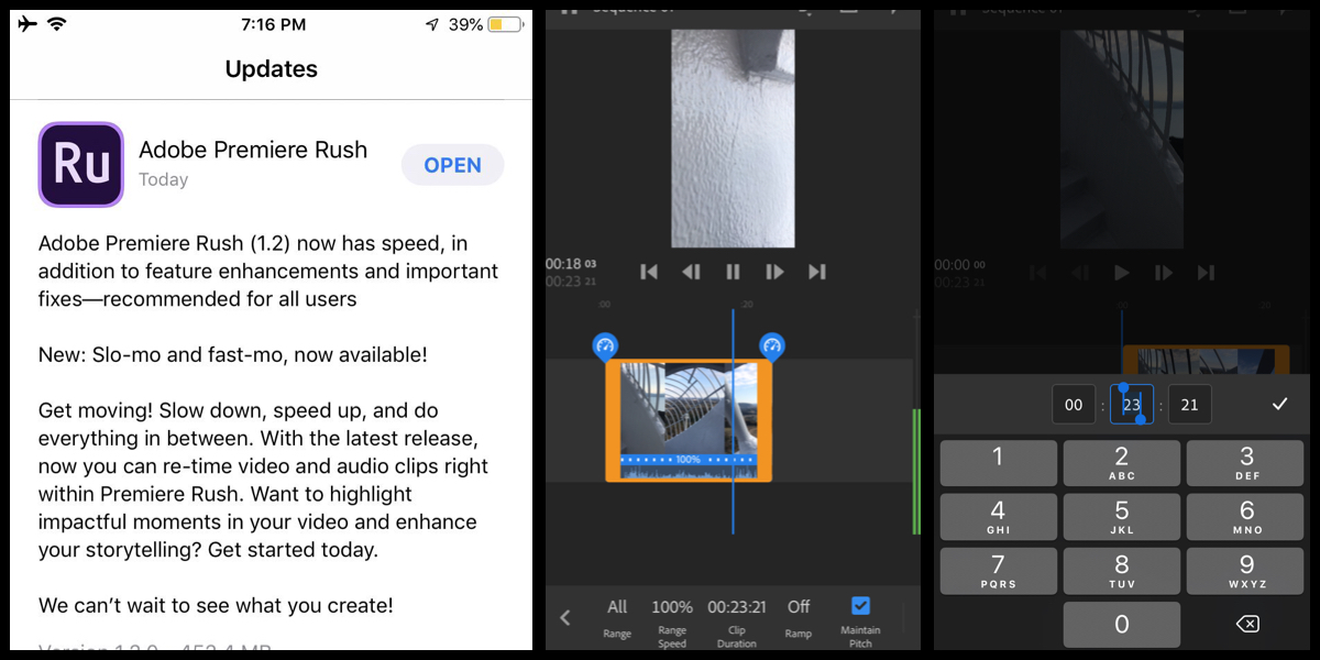Now You can controll speed of videos in Adobe Premiere Rush with iPhone!Adobe Premiere Rush latest Update Aug.06 2019
