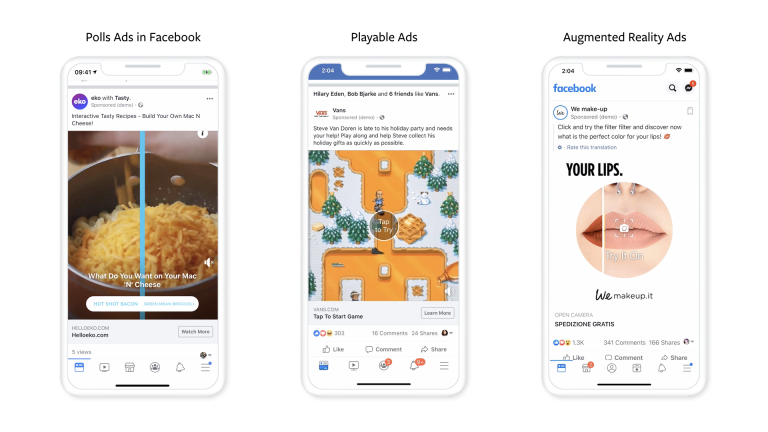 Facebookが新たな広告フォーマット3種発表!アンケート広告/プレイアブル広告/AR(拡張現実)広告。フェイスブック広告 ビジネス向け最新情報 2019年9月