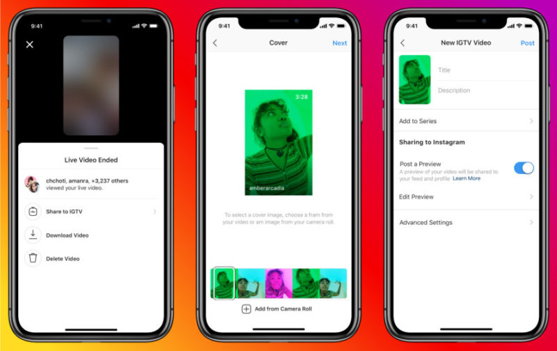 Instagram Live video will post IGTV when you end Instagram Live Instagram stories new feature updates latest news Apr 25 2020