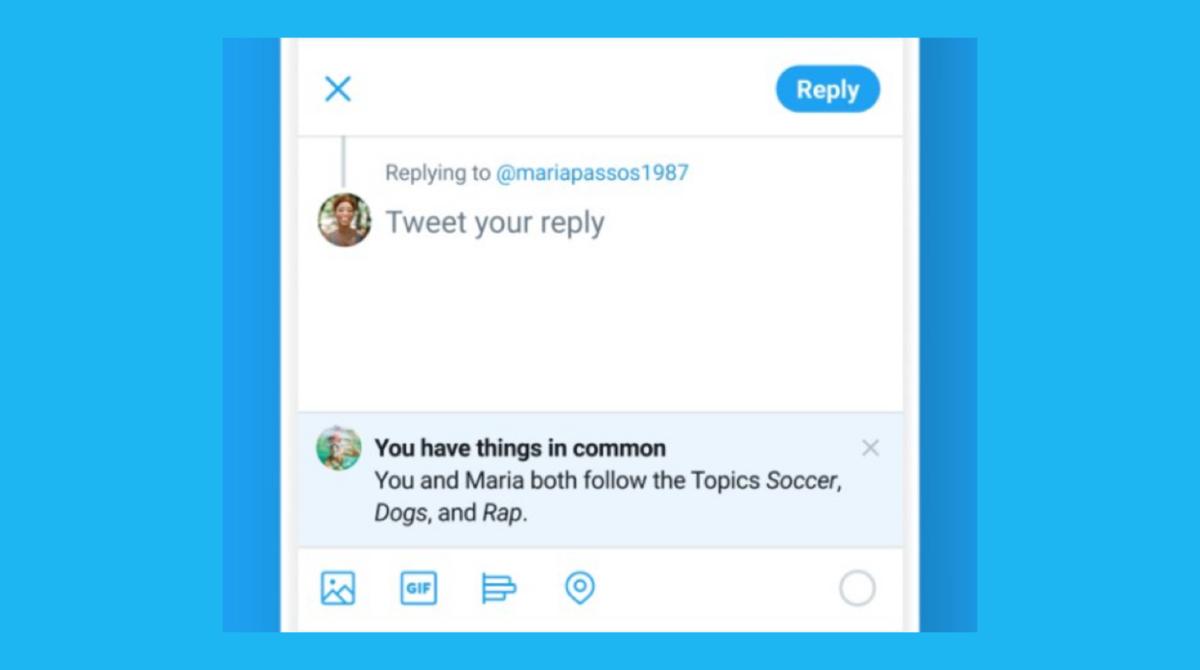 ツイッター、フォローしていないユーザーへリプライ時に「共通トピック」表示。クソリプ防止/抑止力、コミニケーションの活性化 新機能テスト中。2020年12月最新ニュース
